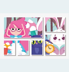 Cute girl and cat rabbit clock cartoon children vector