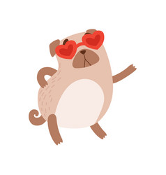 cute pug dog wearing heart shaped glasses funny vector image