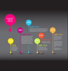 dark infographic timeline report template with vector image