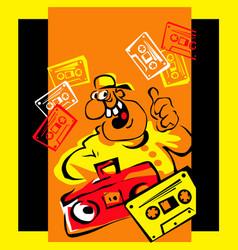 disco style vintage music on vintage cassettes vector image