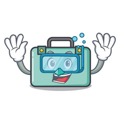 Diving suitcase character cartoon style vector