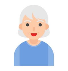 Elderly woman avatar flat icon vector