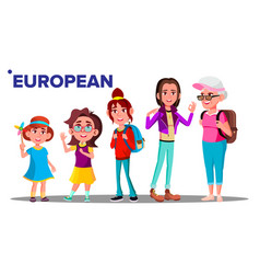 european generation female people person vector image