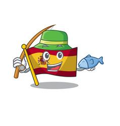 Fishing flag spain isolated in cartoon vector