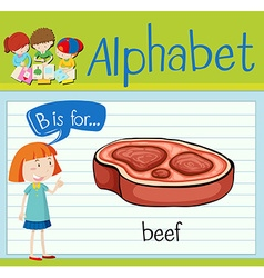 Flashcard alphabet B is for beef vector image