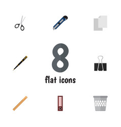 flat icon stationery set of clippers sheets vector image