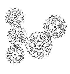Gear mechanism sketch engraving vector