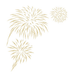 Gold fireworks on white background vector