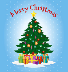 greeting card with cartoon christmas tree vector image