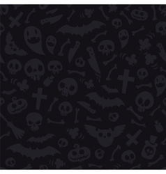 Halloween Symbols Seamless Pattern Dark vector image