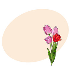 Hand drawn bunch of three side view pink tulip vector