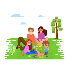 happy family in park at a picnic flat vector image