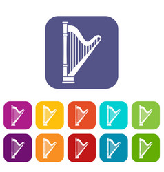 Harp icons set vector