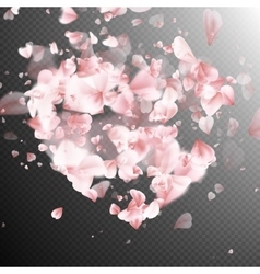 Heart with falling flower petals blossom EPS 10 vector