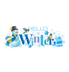hello winter text lettering logo vector image
