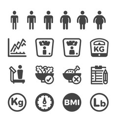 Human weight icon set vector