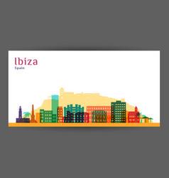 Ibiza city architecture silhouette colorful vector