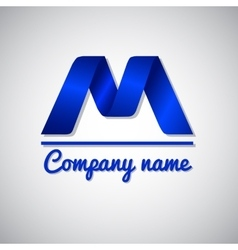 Icon blue paper business logo icon letter m vector