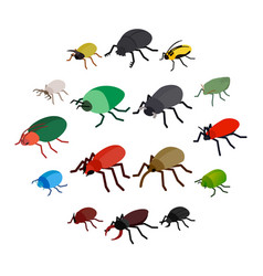 Insect bug icons set isometric 3d style vector