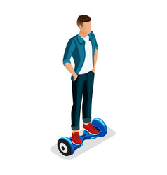 isometric boy young people gadgets vector image