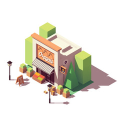 Isometric fruits and vegetables store vector
