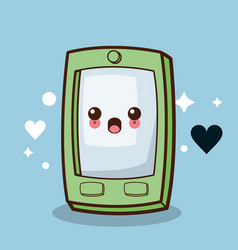 Kawaii smartphone character cartoon vector