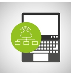 laptop technology cloud connection wifi vector image