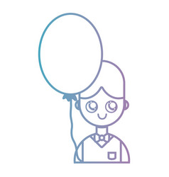 line boy with hairstyle and balloon design vector image