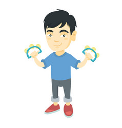 little asian boy playing the tambourine vector image