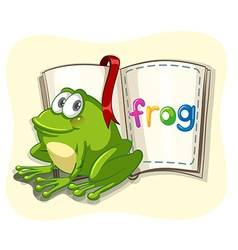 Little green frog and a book vector