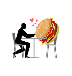 lover fast food man and hamburger in cafe guy and vector image