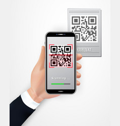 Male hand using smartphone to scan qr code price vector