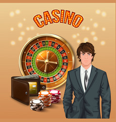 man in casino realistic composition vector image
