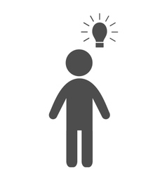 Man with idea lamp flat icon pictogram isolated on vector image