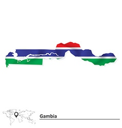 Map of Gambia with flag vector