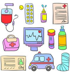 Medical object of doodle set vector