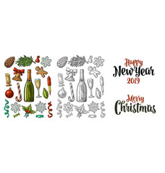 Merry christmas and new year set vintage vector