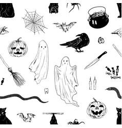 monochrome hand drawn halloween elements seamless vector image