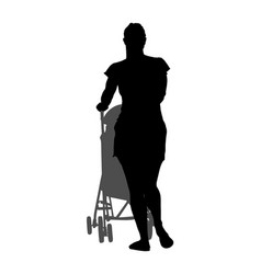 Mother walking with bain pram silhouette vector