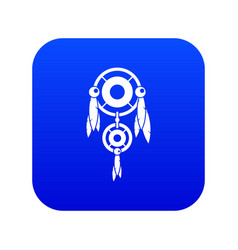 Native american dreamcatcher icon digital blue vector