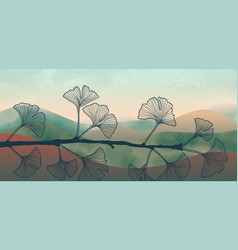 Natural abstract botanical art banner with ginkgo vector