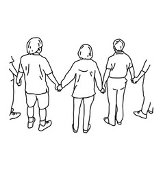 People holding hands vector