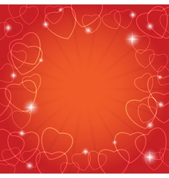 red card with hearts for valentine day vector image