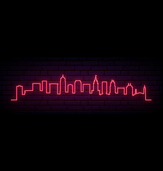 red neon skyline cleveland city bright vector image