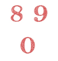 Red sketch font set - numbers 8 9 0 vector