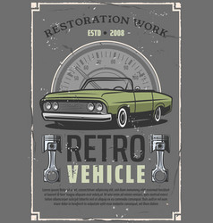 Retro car auto restoration service center poster vector