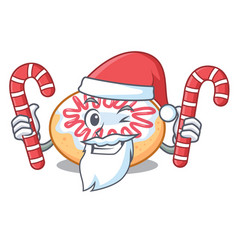Santa with candy jelly donut mascot cartoon vector