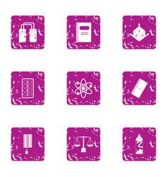 Scientific figure icons set grunge style vector