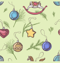 Seamless pattern with colored decorations pine vector