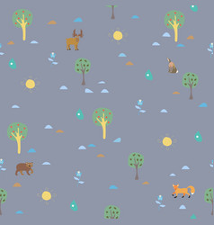 seamless summer pattern with forest animals vector image